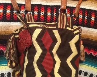 Vintage tribal woven fabric leather handled bucket bag