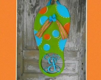 Summer Door Hanger, Flip Flop Door Hanger, Door Decoration, Summer Wreath
