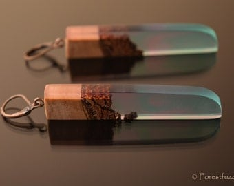 Pine cone - nature, wood and resin nature inspired earrings every women desire. Earrings made of wood and resin.