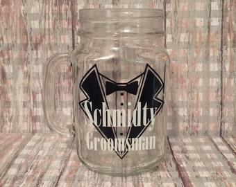 set of 6 groomsmen glasses, set of 6 groomsmen mason jars, groomsmen gifts, wedding party gifts, personalized favors, rustic wedding favors