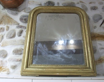 Large Antique French Gilded Wall Mirror // Louis Philippe Gilded Framed Wood Mirror