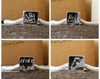 Handprint / Footprint Engraved Pandora / Chamilia / Troll Style Charm Bead