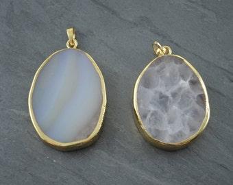 White Agate Slice Pendant - Large Natural White Druzy Gemstone Pendant - Statement Necklace