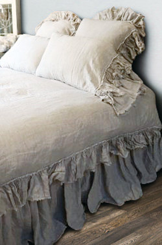 Shabby Chic Linen Ruffled Duvet Cover With By