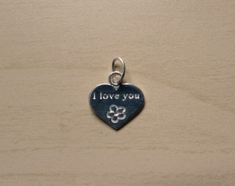 Sterling Silver (925) 12mm I Love You Heart Charm