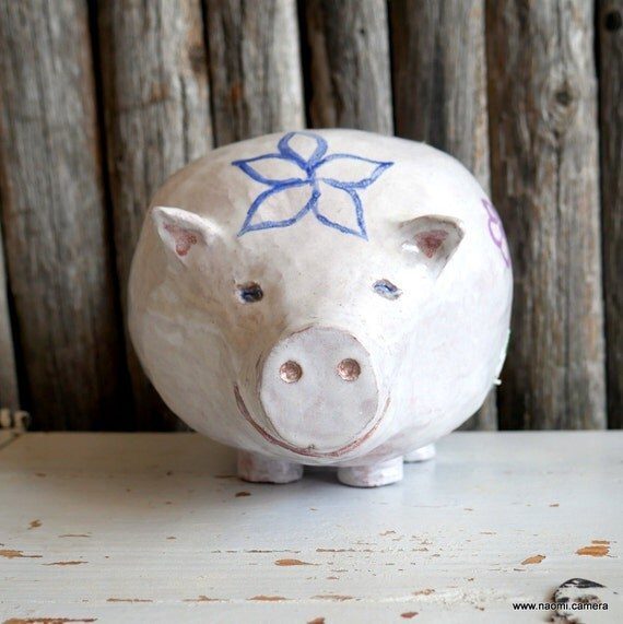 Large piggy bank pig shaped handmade clay piggy bank for Handmade coin bank