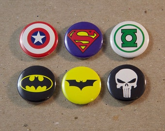 Captain America Superman Green Lantern Batman The Punisher 6 - 1 Inch Badge Pin Button Set