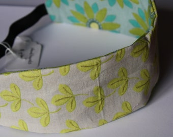 Cotton reversible headband- Blue and green print headband- Reversible headband for Teens and Ladies