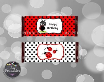 Printable chocolate wrapper, candy bar wrapper, instant download, chocolate bar wrapper, cute, 1st, digital, birthday, red,ladybug
