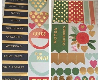 Gold Foil Planning Sticker Set / On Trend Collection