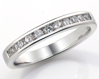 Channel Set Diamond Wedding Ring Fully UK Hallmarked (WD108)
