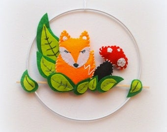 Mobile for baby Fox, wall mobile in felt for Fox fall mushroom nursery, hand made in France, diameter 20cm