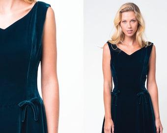 green velvet dress  / miss london backless evening dress  / vtg 50s / m