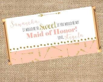 Bridesmaid Proposal, Be My Bridesmaid, Maid of Honor, Ask Bridesmaids, Bridesmaid Gift, Candy Bar Wrapper, Printable Label, PDF Label