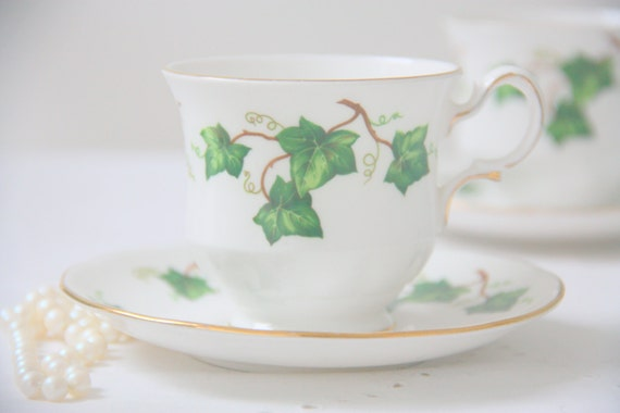 Vintage Colclough Bone China Cup and Saucer, White, Gold Rims and Green Ivy Leaf Pattern