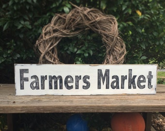 Farmers Market wooden sign, hand painted, farmhouse decor, distressed wall art, rustic farm sign, wall decor, kitchen decor, country decor