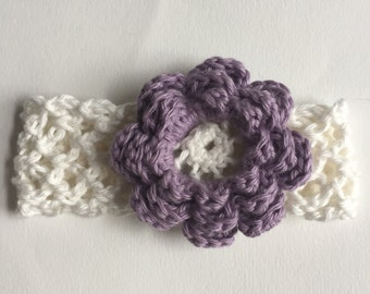 Flower Headband, Baby Headband, Purple Flower, Flower Hair Clip, Girl's Flower Hair Clip or Headband, Crocheted Flower Headband