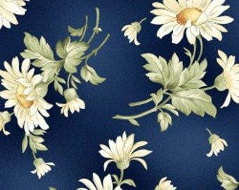 Gentle Breeze Tossed Daisies on Dark Blue by the Half Yard