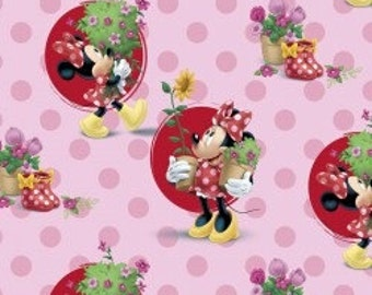Minnie Mouse on Pink - Smell the Flowers by the Half Yard