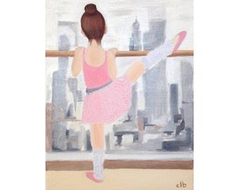 Ballet Print, Oil Painting, Original Art, Giclee Print, Dance Art, Ballet Dancer Print, Ballerina Painting, Cityscape Painting