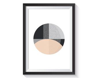 Scandi Cirkel Art Print - A4 size | Scandinavian, monochrome, peach, geometric, geo