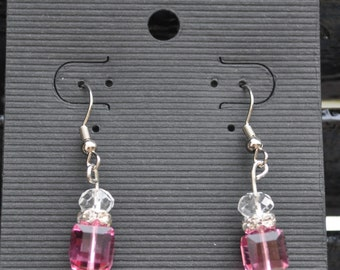 Handmade Pink and Clear Crystal Dangle Earrings