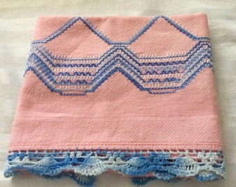Vintage Pink Huck Towel with Blue Embroidery & Crochet Edging