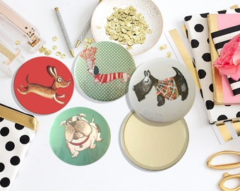 4 illustrated dog mirrors, 76mm each