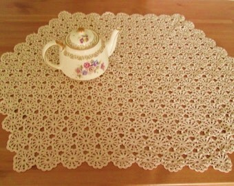 Vintage Hand Crocheted Ecru Doily Floral Tablecloth/Centerpiece Hexagon