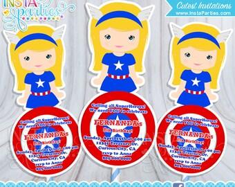 Superhero Girl Invitations invitation spider, Invites superheroes Girly girl captain america, Invitations birthday party supplies Digital