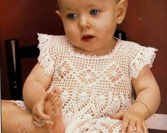crochet, baby, dress, pattern, baby crochet dress pattern ,  vintage pattern, pineapple  design crochet pattern