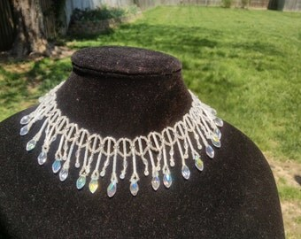 Beautiful Bugle, Fringe, Teardrop, Bicone and Seed Bead necklace