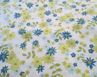 Vintage Twin Flat Floral Bed Sheet, Muslin, Fabric, Linens, Bedding