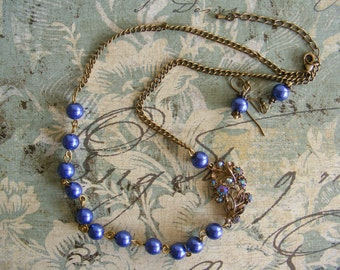 Hand Crafted, Vintage Style, A-Symertrical, Antique Bronze Tone and Blue Glass Pearl Necklace and Earring Jewellery Set with Vintage Detail