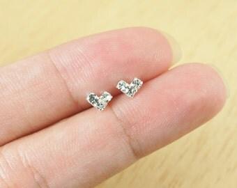CZ Heart Stud Earrings, heart earrings,  925 Sterling Silver, Dainty earrings, Trinity Three Dot Earrings - SA136