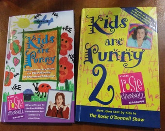 SALE Rosie O Donnell Kids Are Funny 1 & 2 / 90s / Vintage / Childrens Books / Kids Books / Hardback /Kids Book / Humor / Funny / Illustrated