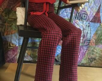 SD boys red\black plaid flannel pj's