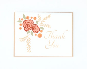 Thank you Card, Floral Card, Blank Cards, Botanical Card, Greeting Card, Roses & Berries, Blank greeting card, Floral Card