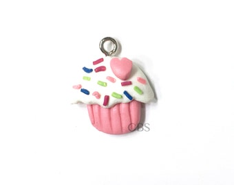 1-5 Cupcake Charm or Pendants. Pink with white frosting and sprinkles. Fimo, Clay, Polymer Clay Charm. DIY Jewelry Supplies, Charm Necklace