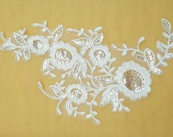 Sequin Lace Appliques ,Wedding Applique, Lace Appliques, Embroidered Appliques(2pcs)
