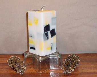 "multicolored 3"" square pillar candle"