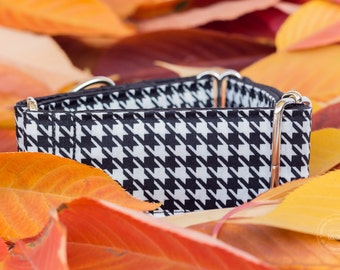 "Houndstooth, dog collar, black and white, wide sighthound collar, 2"" martingale, 1.4"" martingale, 1"" martingale"