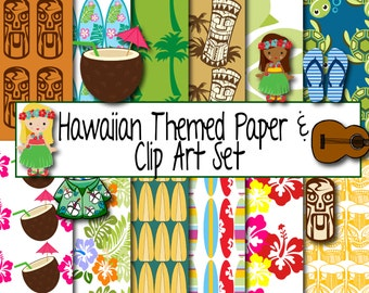Scrapbook Paper Hawaiian Theme, Hawaiian Clip Art, Aloha, Instant Download Digital Paper, Hawaiian Scrapbook Paper