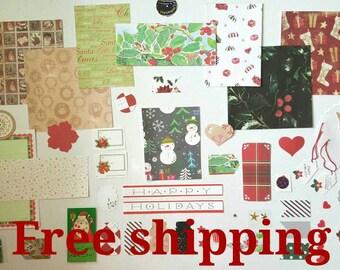 Christmas junk journal kit, art journal kit, mixed media kit, smash journal kit, scrapbook inspiration kit, Paper ephemera, Free shipping.