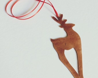 Copper Decoration, handmade copper Reindeer decoration on red ribbon.