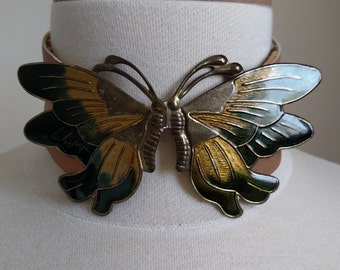 LEATHER BUTTERFLY CHOKER, One of A Kind! #cherryswandesigns