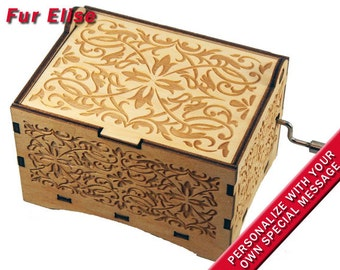 """Jewelry Music Box,  """"Fur Elise"""" by Beethoven, Laser Engraved Wood Hand Crank Storage Music Box"""