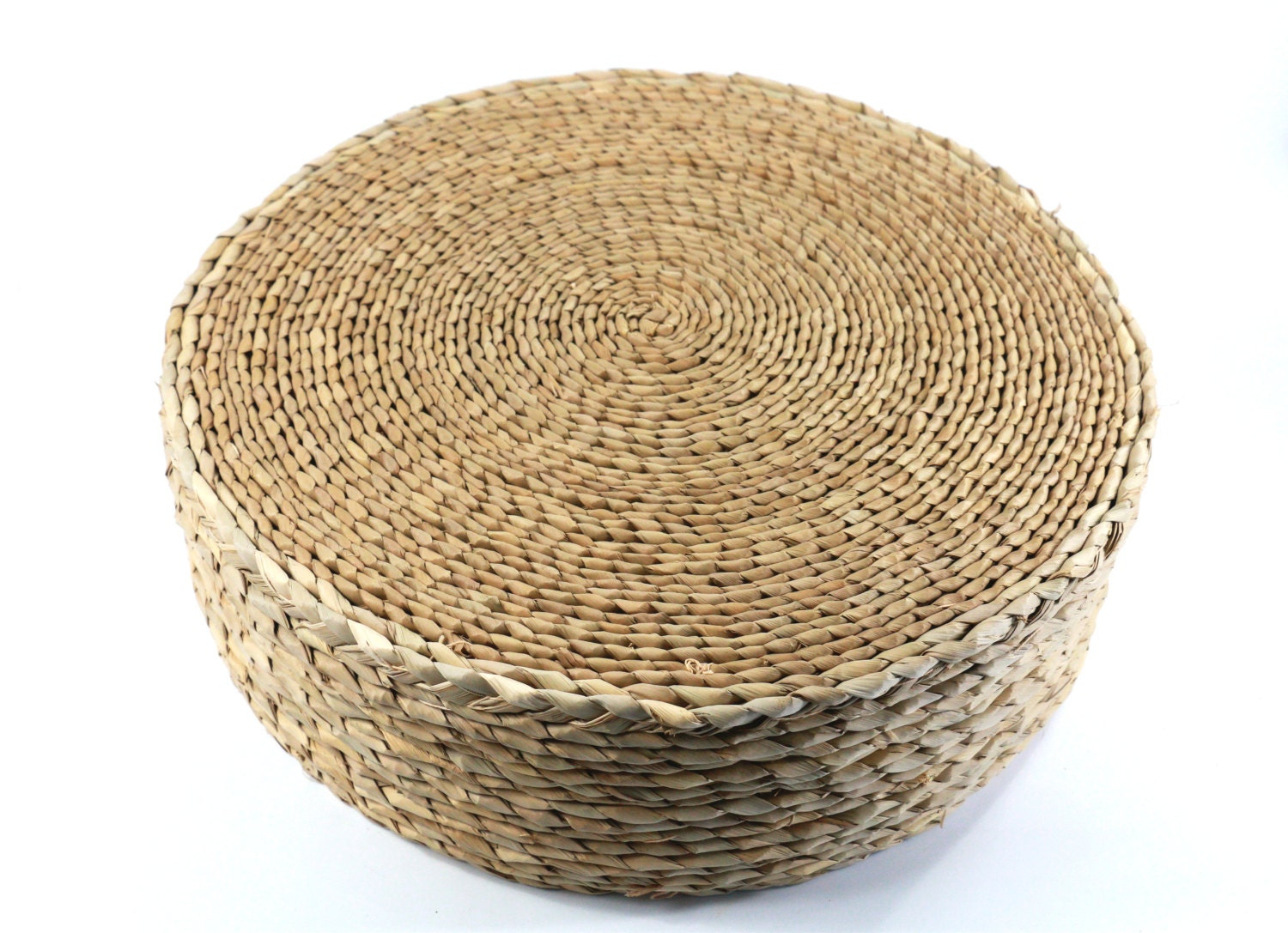 Straw round rustic floor cushion/ gift for by GrasShanghai on Etsy