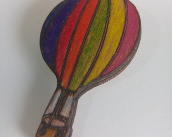 Wooden Hand Painted Balloon Brooch (free shipping!)