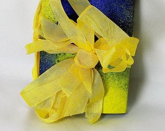 Handmade Blue and Yellow Travel Journal - Art Journal - Blue and Yellow Art Journal - Mixed Media Journal - Mixed Media Travel Journal